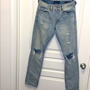 Men's lucky brand 121 slim distressed light wash